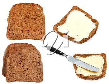 bread and butter toasts isolated on white background