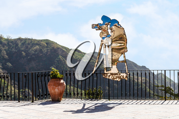 SAVOCA, ITALY - APRIL 4, 2015: Statue of Francis Ford Coppola created by Nino Ucchino - a Local Savoca artist's tribute to Francis Ford Coppola of the GODFATHER movies filmed in part here
