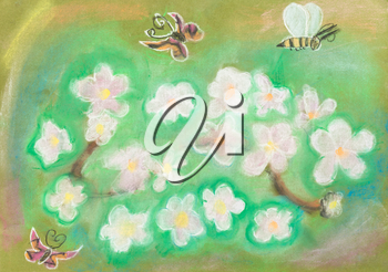 children drawing - Butterflies fly over the green flower meadow by dry pastel
