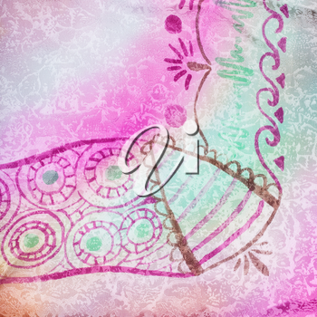 textile background - hand drawing abstract decoration of silk batik