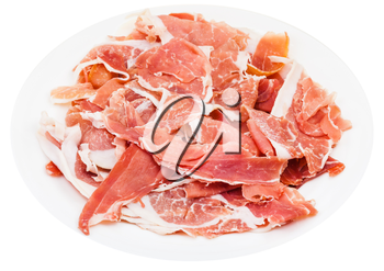 thin sliced uncooked jerked pork on white plate isolated on white background