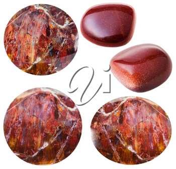 macro shooting of collection natural stones - various red sunstone cabochons and tumbled goldstones (synthetic Aventurine) gem stones isolated on white background