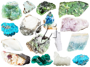 set of various natural mineral gemstones and crystals - chrome diopside, diopside, cinnabar, cacholong, lizardite, ussingite, scolecite, turquoise, demantoid, violane, etc isolated on white background