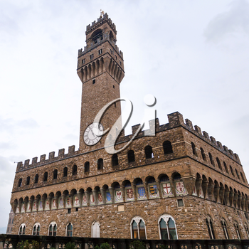 travel to Italy - Palazzo Vecchio (Old Palace, Town Hall) in rain in Florence city