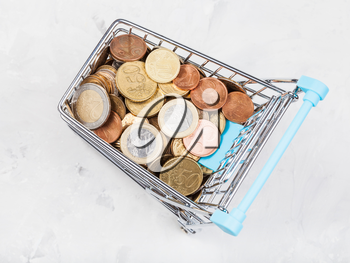 shopping cart with euro coins on concrete board