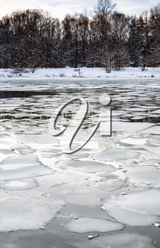 spring season - floating ice blocks on surface of river in twilight