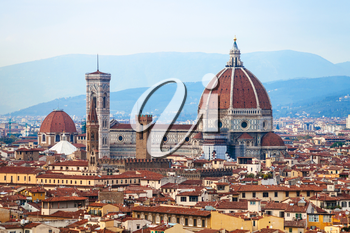 travel to Italy - above view of Florence Duomo Santa maria del fiore from Piazzale Michelangelo in autumn evening