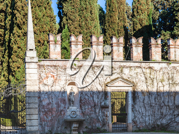 travel to Italy - outer wall of giusti garden in Verona city in spring