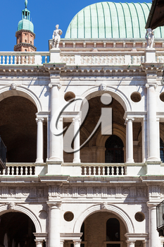 travel to Italy - facade of basilica palladiana on piazza dei signori in Vicenza city in spring