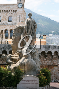 MONACO CITY, MONACO - JULY 6, 2008: monument Homage of the foreign colonies to Prince Albert I in Monaco city. Principality of Monaco is sovereign city-state and country located on the French Riviera