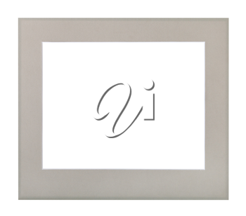 wide flat gray passe-partout for picture frame with cut out canvas isolated on white background