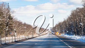panoramic view of M1 highway (Russian route M1, Belarus Highway, European route E30) in Smolensk oblast of Russia in winter day