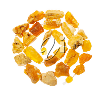 top view of spiral necklace from natural raw yellow amber nuggets isolated on white background