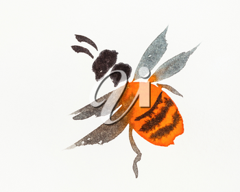 orange bee hand-drawn by watercolors on creamy-white paper in sumi-e (suibokuga) style