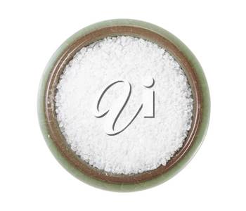 top view of ceramic salt cellar with grained Rock Salt isolated on white background