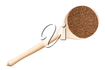 top view of whole-grain teff seeds in wood spoon isolated on white background