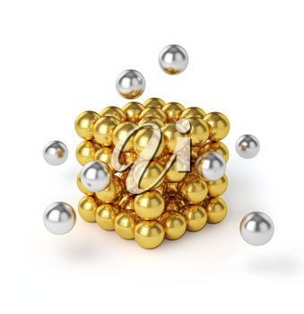 Business teamwork internet communication concept - metal spheres assembling into gold cubic structure isolated on white background