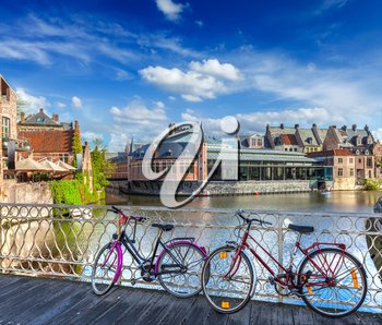 Bicycle is very common and popular transport in Europe. Bicycles in european town street. Ghent, Belghium