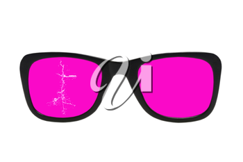 Cracked pink glasses in black frame isolated on white background.