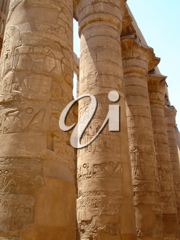 Ancient Egyptian Column in the Karnak temple with ancient images.