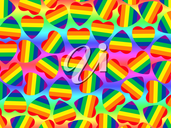 Multicolored hearts shape with gay pride flag inside as abstract background.