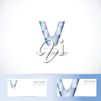 Vector logo template of alphabet letter v 3d with business card