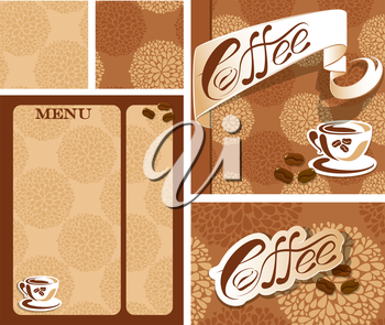 Template designs of menu and business card for coffee house  with coffee cup, beans, calligraphic text COFFEE. Background for restaurant or cafe menu, seamless patterns available.