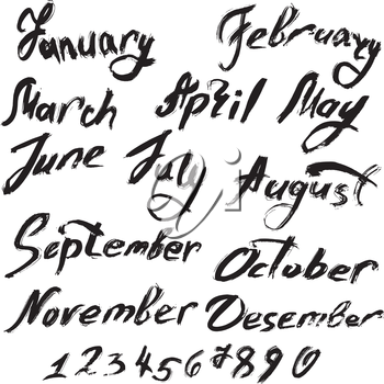 Title of months of the year. Numbers from 0 to 9 - handwritten text in grunge style.