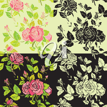 Set of seamless backgrounds - Floral Seamless Pattern with hand drawn flowers. Ready to use as swatch