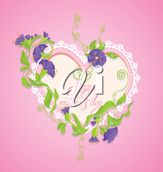 Happy Mother's Day card. Heart is made of lace with violet flowers around on pink background.