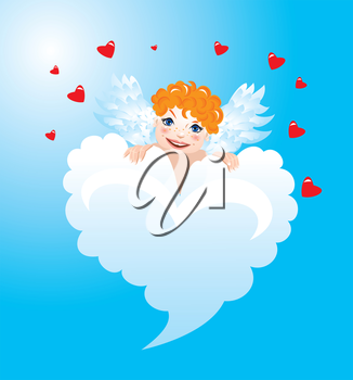 Postcards for Valentines Day with funny angels