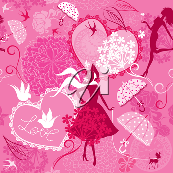 Seamless pattern in pink colors - Silhouettes of fashionable girls, hearts and birds.