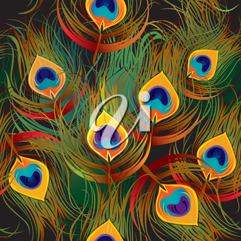 Seamless pattern - peacock feathers