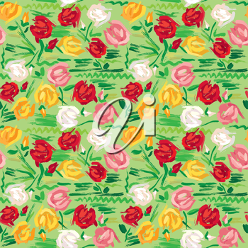 Hand painted roses seamless pattern in pink, red, white and yellow tones on green background.