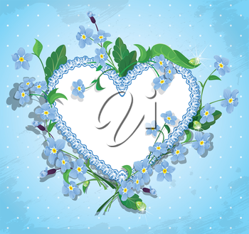 Bouquet of beautiful forget me not flowers and lace heart on blue polka dot background. Design  for Valentines Day, Birthday or Wedding card.