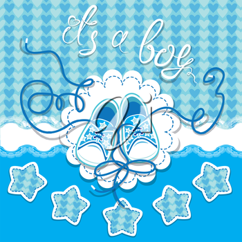 Holiday Dard children gumshoes on blue background - design for boys. Invitation with handwritten text It`s a boy.