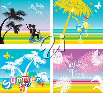 Set of summer, travel and vacations pictures - silhouettes of girls riding on scooter, tropical palms trees, butterflies, hand written text SUMMER TIME.