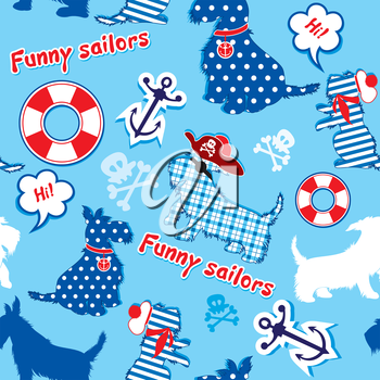 Seamless pattern with funny scottish terrier dogs  - sailors, anchor, lifebuoy, jolly Roger