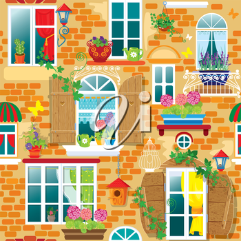 Seamless pattern with Windows and flowers in pots. Summer or spring season. Ready to use as swatch