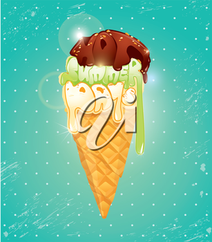 Vanilla Ice cream cone with Chocolate glaze. The top of icecream made of calligraphic words Hot Summer Days, vacation or holidays concept