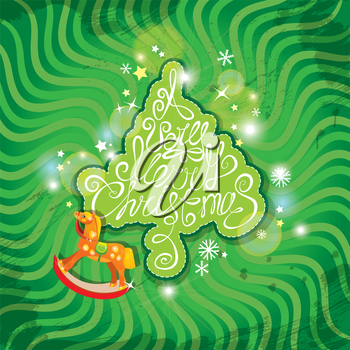 Christmas and New Year card with wooden rocking horse toy and fir tree shape with hand written text A Very Merry Christmas on green background.