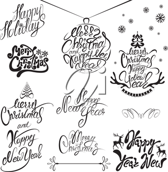 Collection of Merry Christmas and Happy New Year calligraphy handwritten texts for winter holidays design.
