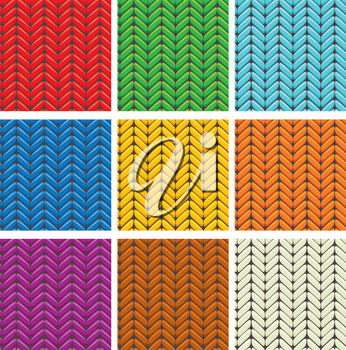 Set of 9 knitted wool colorfull seamless patterns