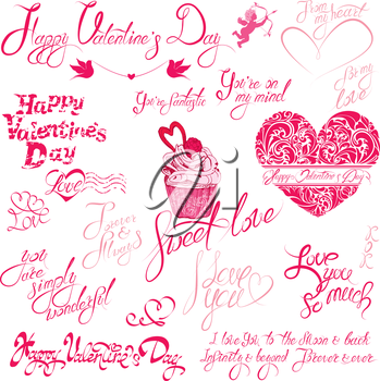 Set of hand written text: Happy Valentine`s Day, I love you, Forever and Always, etc. Calligraphy elements for holidays or wedding design in vintage style, hearts, cake, angels.