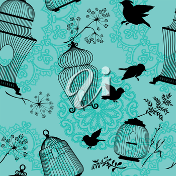 Seamless pattern with decorative bird cage black Silhouettes, flying birds, plants on blue background with mandala ornaments.