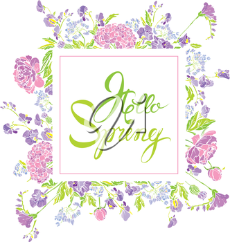 Square frame with flowers and calligraphic handwritten text Hello Spring, isolated on white background. Seasonal design.