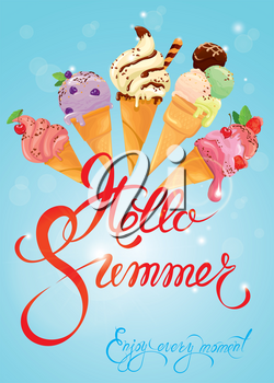 Greeting card with ice cream cones on blue background. Calligraphic handdrawn text Hello Summer, Enjoy every moment. Seasonal summer, vacations or travel design.