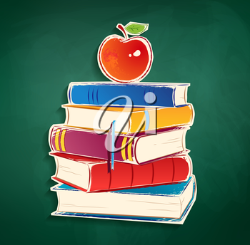 Sticker with pile of books and apple on green chalkboard background. Vector EPS 10. Isolated.
