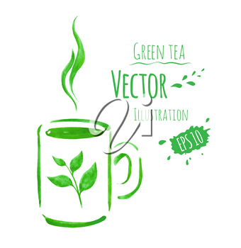 Cup of green tea. Hand drawn watercolor sketch. Vector illustration. isolated.