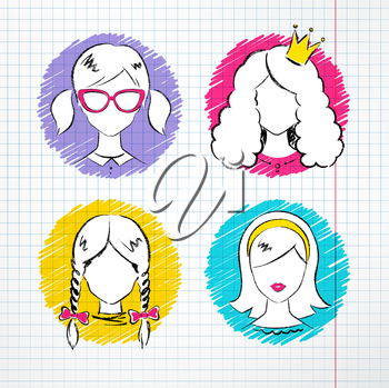 Female avatars drawn on checkered notebook paper. Vector set.